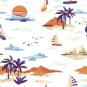 Vintage mooi naadloos eilandpatroon op witte achtergrond. landschap met palmbomen, jacht, strand en oceaan vector handgetekende stijl