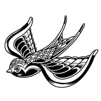 Vintage mooie vliegende zwaluw