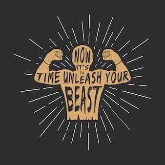 Vintage motivatie logo, embleem, label, poster of ontwerpdruk. inspirerend citaat met typografie. illustratie