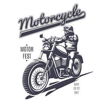 Vintage moto fest logo sjabloon