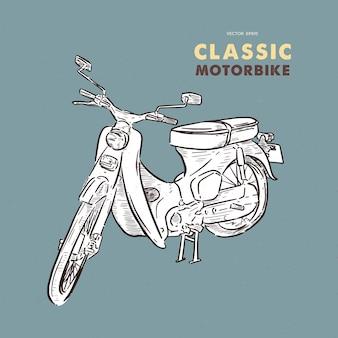 Vintage motor. hand tekenen schets vector.