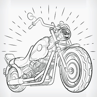 Vintage motorfiets doodle chopper hand tekenen schets