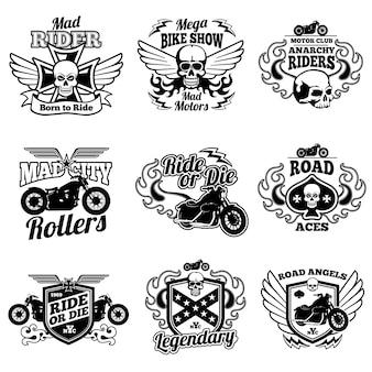 Vintage motorfiets etiketten. motor vector retro badges en logo's