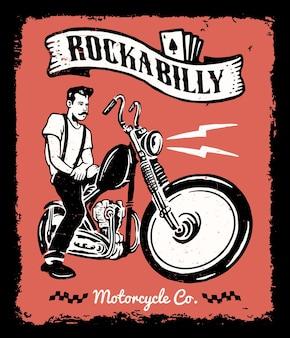 Vintage motorfiets illustratie