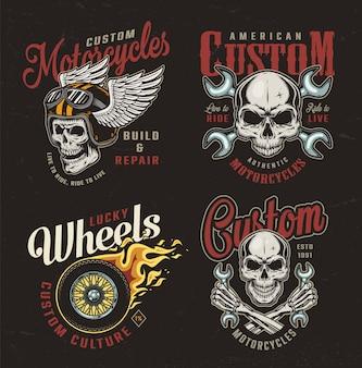 Vintage motorfiets kleurrijke emblemen