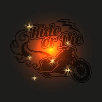 Vintage motorfiets label. motor glanzende achtergrond