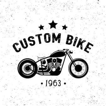 Vintage motorfiets logo, tas, embleem. aangepaste fiets. vector illustratie.