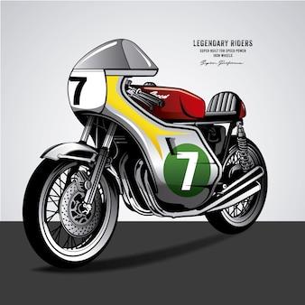 Vintage motorfiets met nummer zeven