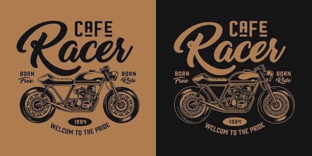 Vintage motorfiets monochroom label met café racer motor en inscripties