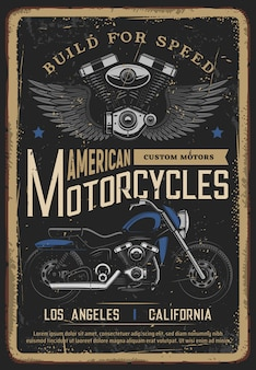 Vintage motorfiets poster, biker moto chopper bike
