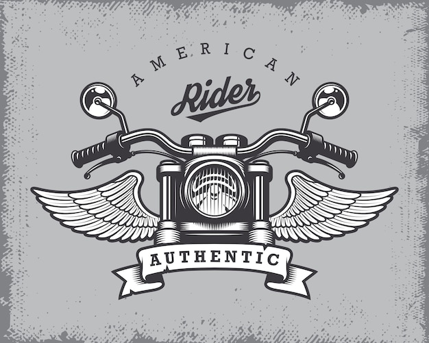 Vintage motorfiets print met motorfiets, vleugels en lint op grange achtergrond.