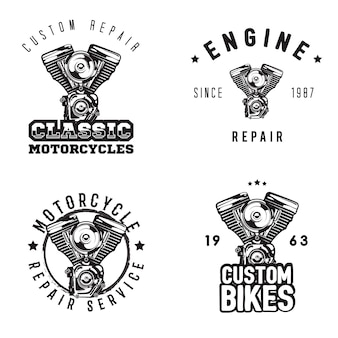 Vintage motorfiets reparatie logo's, motor service