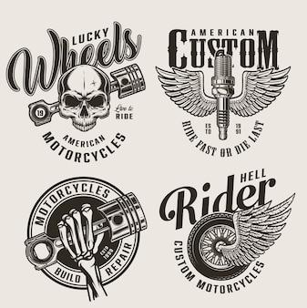 Vintage motorfiets reparatie service emblemen