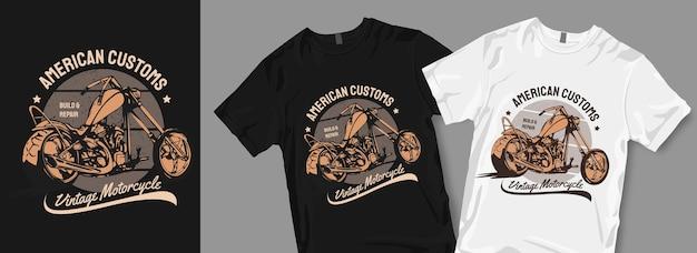Vintage motorfiets t-shirt ontwerpen