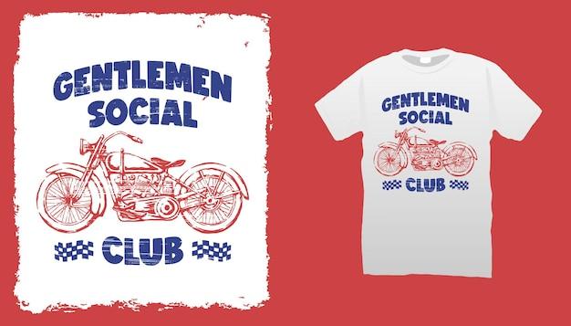 Vintage motorfiets t-shirt sjabloon
