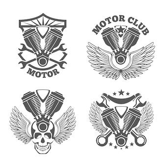 Vintage motorfietsetiketten, badges. motor logo set. moersleutel en motor, schedel en cilinder