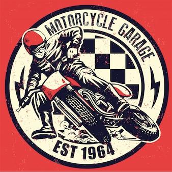 Vintage motorfietsgarage met t-shirtontwerp