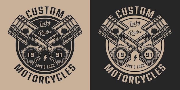 Vintage motorfietsreparatieservicelabel met inscripties en gekruiste zuigers