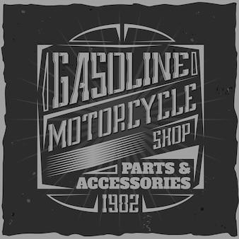 Vintage motorlabel met lettersamenstelling