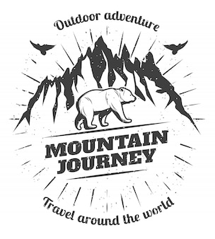 Vintage mountain travel-badge