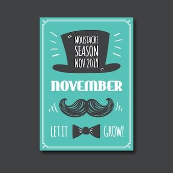 Vintage movember bewustzijn poster sjabloon