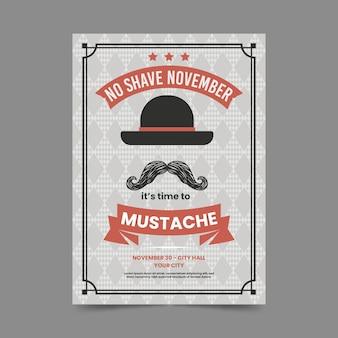 Vintage movember poster sjabloon