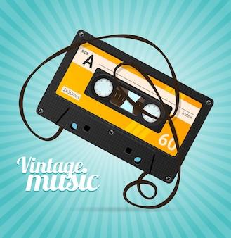 Vintage muziek achtergrond over blauw