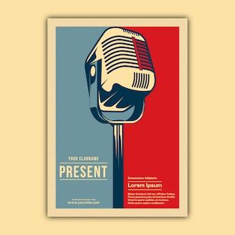 Vintage muziek evenement poster sjabloon