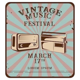 Vintage muziek poster met radio illustratie
