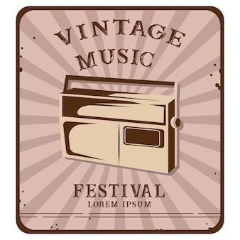Vintage muziekfestival poster illustratie