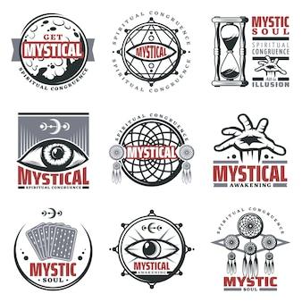 Vintage mystieke spirituele emblemen set met inscripties maan zandloper mystieke symbolen sieraden derde oog tarotkaarten geïsoleerd