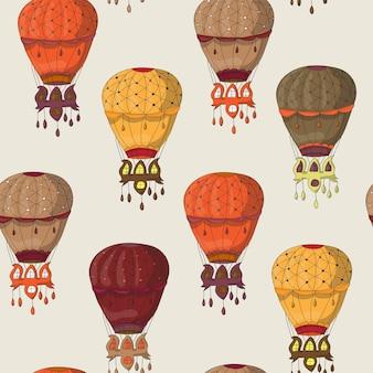 Vintage naadloos patroon van heteluchtballonnen voor behang, opvulpatronen, webpagina-achtergrond