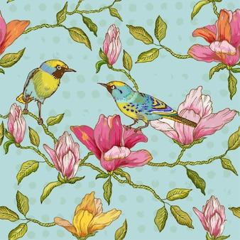Vintage naadloze achtergrond bloemen en vogels