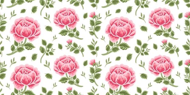 Vintage naadloze bloemmotief van rood rozenboeket, bloemknoppen en bladtakarrangementen