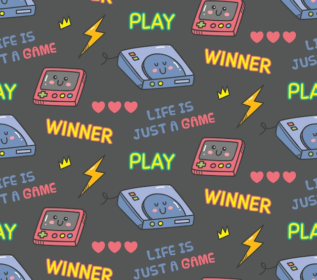 Vintage naadloze kawaii-videogame