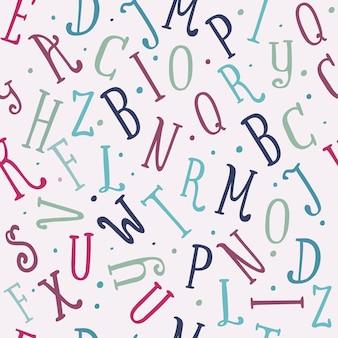Vintage naadloze kleurenpatroon van grappige hand getrokken letters