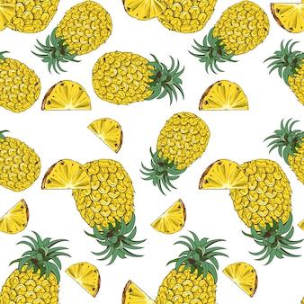 Vintage naadloze patroon met ananas.