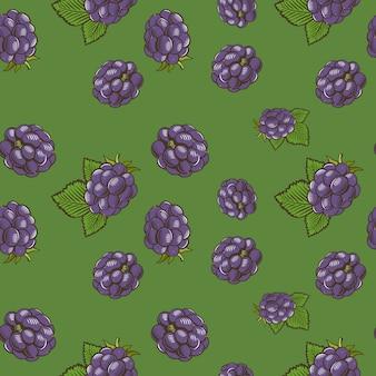 Vintage naadloze patroon met bramen op een groene achtergrond. gekleurde afbeelding.