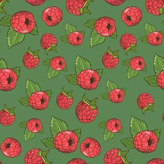 Vintage naadloze patroon met frambozen op een groene achtergrond. gekleurde afbeelding.