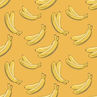 Vintage naadloze patroon met gele bananen.