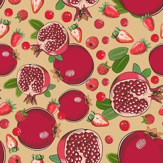 Vintage naadloze patroon met granaatappels, frambozen, aardbeien, vossebessen en veenbessen.