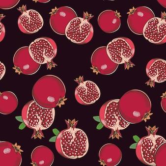 Vintage naadloze patroon met granaatappels op een donkere achtergrond. gekleurde afbeelding.