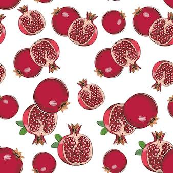 Vintage naadloze patroon met granaatappels.