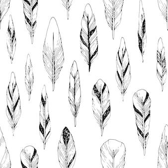 Vintage naadloze patroon met hand getrokken veren