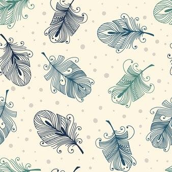 Vintage naadloze patroon met handgetekende veren