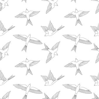 Vintage naadloze patroon met kleine zwaluwen. vector schattige illustratie