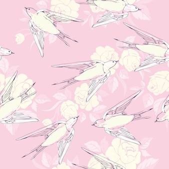 Vintage naadloze patroon met kleine zwaluwen