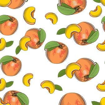 Vintage naadloze patroon met perziken.