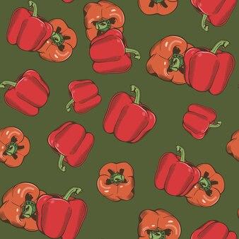 Vintage naadloze patroon met rode peper op een groene achtergrond. gekleurde afbeelding.