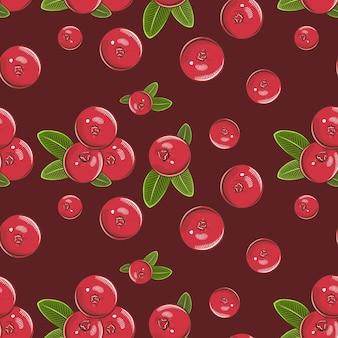 Vintage naadloze patroon met rode veenbessen.